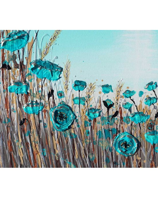 Teal Poppies on the Beach