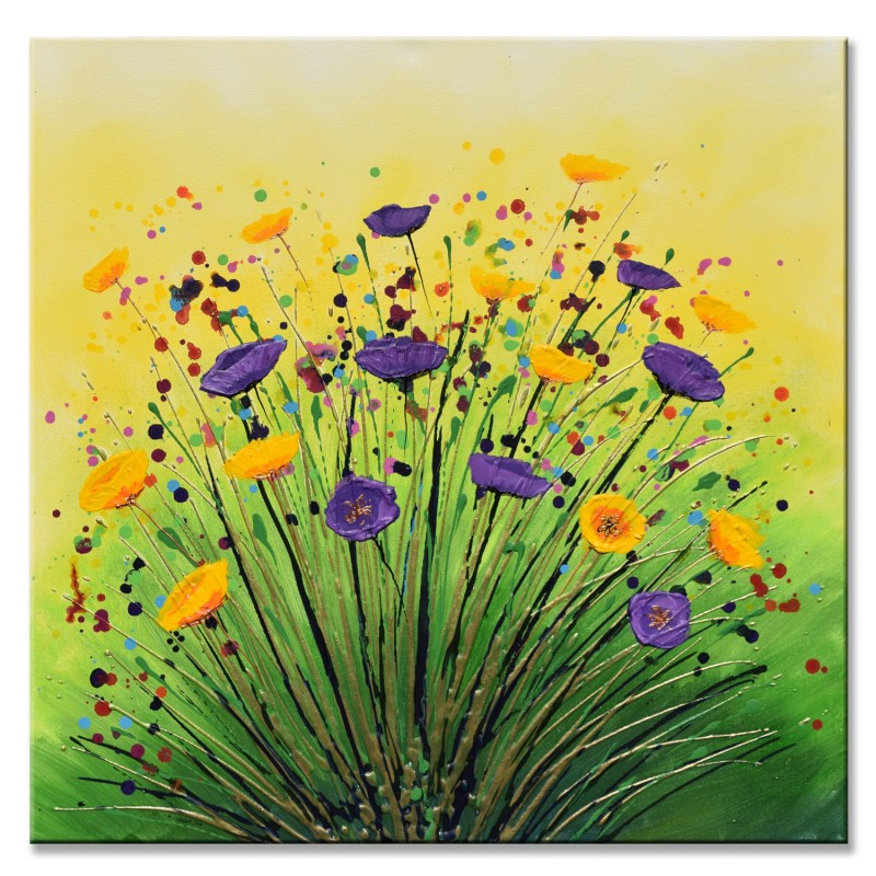 Summer smile original purple and yellow flower painting summer smile mightylinksfo
