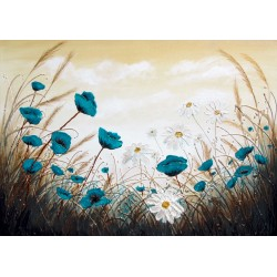 Limited Edition Print -  Teal Poppies and Daisy Flowers