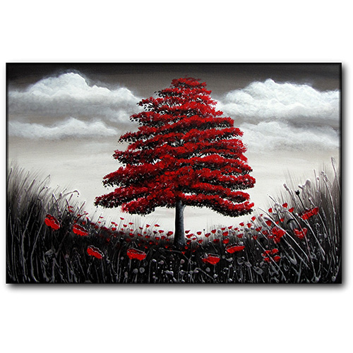 Red Tree in Poppy Meadow